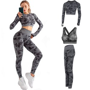 Herbst-Qualitäts-Baumwollmarken-Entwerfer-Frauen Winter Yoga Anzug Langarm Sportwear Fitness Leggings BH Sport drei Stück Satz Outfits
