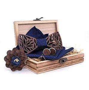 2020 Azul marino hueco tallado en madera de Bowtie de bolsillo escuadra de la Marina Floral Madera pajaritas para la caja de boda de los hombres novedad de la manera T201