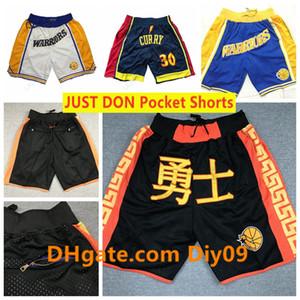 Mens Golden StateguerriersBasketball Tout Don Short Pocket Vintage respirant Cousu Pant Mitchell Ness Hip-hop Shorts Classique