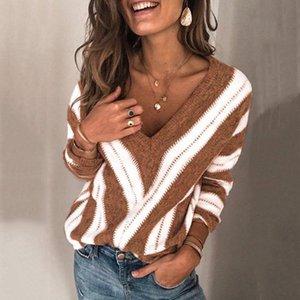 플러스 사이즈 패션 니트 V -Neck 블라우스 스웨터 캐주얼 겨울 여성 스트라이프 여성 여성 긴 소매 셔츠 Blusas 풀오버 탑
