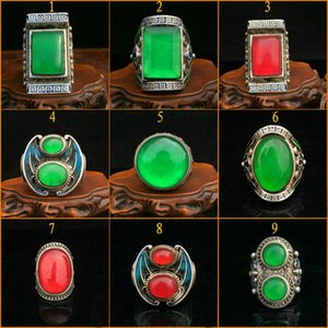 Trendy old jadeite jade ice type square ring face old silver inlaid open ring finger finger men and women