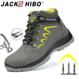 JACKSHIBO Bottes de sécurité pour les hommes de sécurité d'hiver Chaussures cheville anti-fracassant Bottes Steel Toe Cap Men Travaux de construction