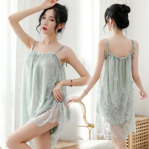 t8z6W Large size 180 Jin can wear high-end sexy lingerie sexy temptation lace sling sleeping suit Home clothes pajamas Sling pajamas nightdr