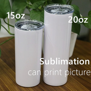 DIY 15oz Sublimation Skinny Tumbler with Lid Double Wall Blank Tumblers Vacuum Insulated Slim Tumblers Heat Transfer Car Mug