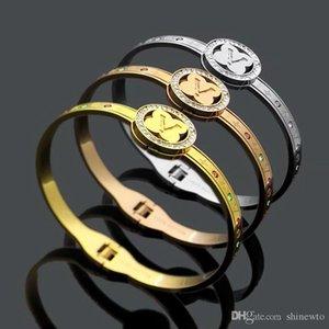 Fashion Hot Sale Lady Titanium Steel Carved Flower V Letter With Color Diamond 18k Gold Plated Bracelet Bangle 3 Color