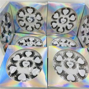 Novo amor do coração 7 pares falso 3D Mink cílios pestanas falsas macio e espesso Cílio Extensão Falso Mink Lashes Maquiagem Eye Lashes