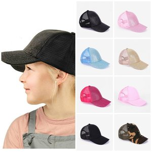 Boné de beisebol quente Criança Glitter Ponytail Cap desarrumado camionista criança Caps menino ocasional e menina Verão chapéus de festa T2C5250