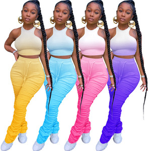 gradient Color Women Summer Clothing Tanks Tops+Leggings 2 Piece Sets Outfits Crop Tops Jogger Suit Stretchy Sexy Sportswear 2XL Sweatsuit