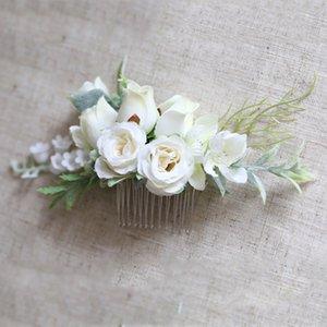 Greenery Floral Hair Comb Flower Bride Women Wedding Accessories for Wedding Ceremony Headwear