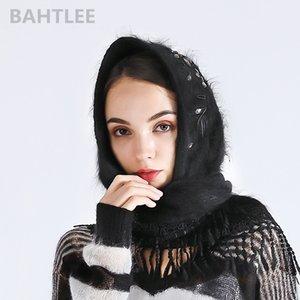 angora turbante hijab Poncho triangolare sciarpa scialle di pelliccia vera Wrap mantello mantello lavorato a maglia BAHTLEE autunno donne inverno