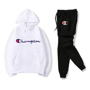 Champion s Mens Tuta Designers con cappuccio + pantaloni 2 Imposta pezzo solido di colore di marca Outfit Suits 2019 Tute di alta qualità per Mens
