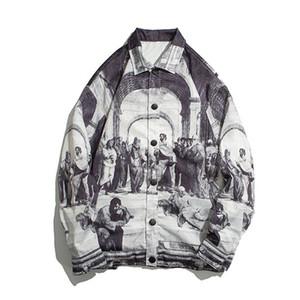 Retro Vintage Jacken Mens Malerei 2020 Street Jacke Hip Hop Track Jacket Mantel Outwear