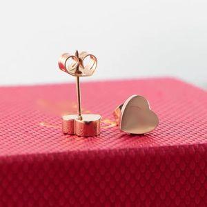 Hot Sale Classic Design Jewelry Heart Rose Gold 316L Titanium Steel Stud Earrings Love Letter Earrings Heart Stud Earrings For Women Stud