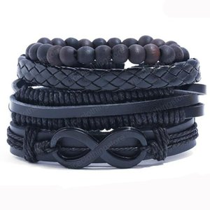 Hot sale 100% genuine leather bracelet DIY Multiple 8 Infinity wax rope Beading Men's Combination suit Bracelet 4styles 1set