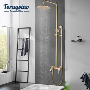 Banyo Lüks Fırçası altın duş SetBrass Duş Bataryası Çift Seramik Kolları Küvet Karıştırıcı El Duş Setleri Karıştırıcı