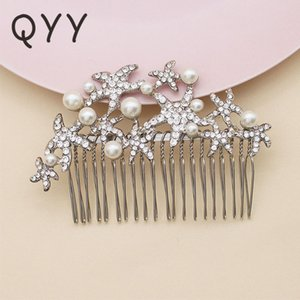 QYY 2020 Starfish Pearls Hair Comb Bridal Fashion Jewelry Wedding Hair Combs Accessories Clips Bridal Headpiece for Women