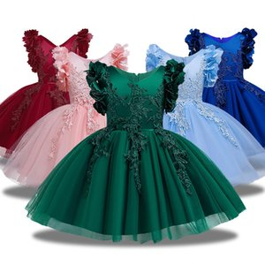 New Lace Flower Formal Evening Wedding Gown Tutu Princess Dress Girls Children Clothing Kids Party For Girl Clothes T200709