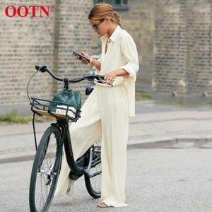 OOTN Pleated Office Work Ladies Blouses Shirts Long Sleeve Spring Summer Female Khaki Tops Sexy Elegant Loose Women Blouse 2020