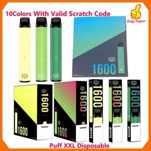 Puff XXL 1600puffs Одноразовое с Действительными Царапинами Кода Vape Pen устройства Starter Kits Пустых одноразовых устройства Комплекты Puff Puff Flow Xtra Plus