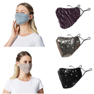 1pc Sequins Face Mask Scarf Mascarilla Cotton PM2.5 Outdoor Mouth Mask Washable Reuse Face Mask Protection