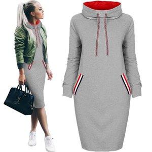 Women Dress Sweatshirt Autumn Slim Long Sleeve Turtleneck Drawstring Hoodies Moletom Feminino