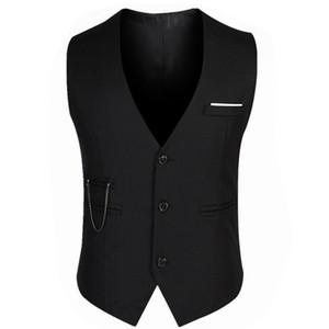 El juego formal de la boda del novio chalecos masculino de la capa delgada de negocios Traje Sleevels chaleco chalecos color sólido de la chaqueta de los hombres de moda Tops