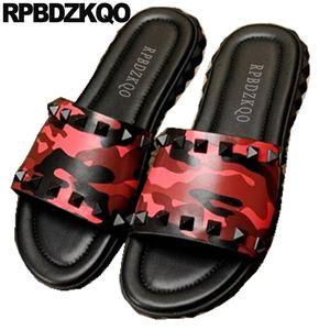 native genuine leather luxury stud rivet camouflage designer shoes men high quality red slides sandals slippers size 45 large