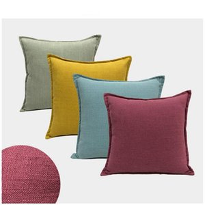 plain solid colors home decor yellow navy blue cojines modern 45cm cushion cover chaise chair throw pillow case