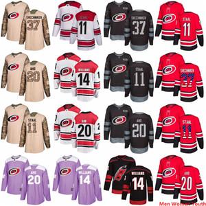 Personalizados Homens Mulheres Jovens Carolina Hurricanes Qualquer hockey jersey Nome S-6XL Andrei Svechnikov 11 Staal Sebastian Aho Justin Williams bandeira dos EUA