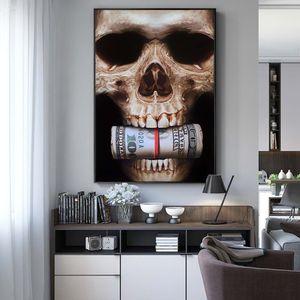Lienzo Pintura Murales y estampados modernos cráneo dinero Wall Art Imágenes para sala de estar Decoración Restaurantes del hotel Decoración