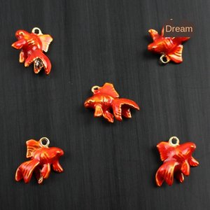 Stainless steel jewelry DIY necklace bracelet stainless steel paint goldfish Pendant accessories Diy accessories Jewelry pendant