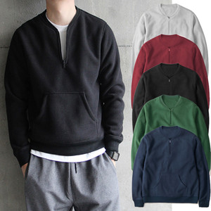 2020 New Round Neck Pullover Long Sleeve Men's Sweatshirt Solid Color Zipper Thread European American Casual Top Men's Clothing