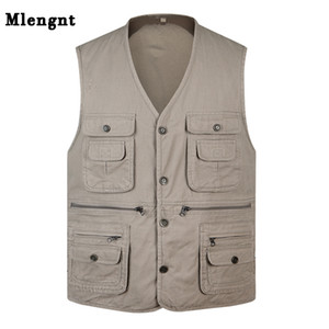 Classic Summer Men Vest Cotton Button Multi Pocket 3 Colors Sleeveless Jacket With Many Pockets Solid Big Size Travel Waistcoat CX200804