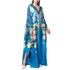 Di lusso delle donne jersey di seta blu maxi manica 3/4 geometrica Charme Stampa Spandex elastico Firma di vestito delle donne