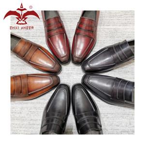 Big Shot style! 3 Patina couleur 100% Chaussures en cuir de vache véritable hommes Mocassins main Chaussures sur Marque
