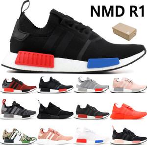 Box NMD R1 мужские кроссовки Europe Exclusive сочный красный бланшируют синий тройной черный белые мужчины кроссовки женские тренеры США 5-11