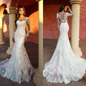 Sheer Neck Mermaid Wedding Dresses 2020 Long Sleeves Lace Bridal Gowns Illusion Back robe de mariee Wedding Gowns