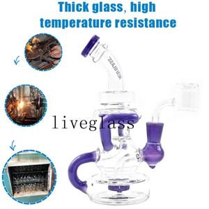 Уникальные фиолетовые курительные кальяны стеклянные водные трубы FAB яйцо DAB буровые установки Shisha Recycler Bubbler стеклянные стаканчики бонги для курения сигареты 14 мм