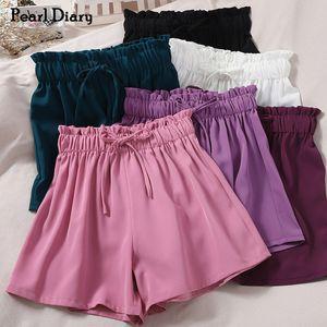 Pearl Diary тканая короткие штаны сплошной цвет Упругие Tie Bow Waistband кулиской Повседневный брюки Femme Wide Leg Summer Сладкие Pant