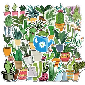 Pack of 45pcs Wholesale green potted plants Stickers office home Decal Guitar Laptop Skateboard Motor Bottle Car Decal Bulk Lots