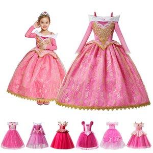 Trajes crianças Princess Party Vestuário Meninas Vestidos crianças casamento Flower Girl Prom Vestido Bela Adormecida Papéis Frocks