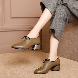 Spring Autumn Women High Heel Shoes Slip on Pumps Ladies Retro Leather Mary Janes Round Toe Women Thick Heel Shoes Size 35 - 40