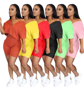 Summer Shorts Outfits Pink 2 Piece Set Tracksuit Short Sleeve Sportswear Slim Shirt Pant Sport Suits Women Clothing
