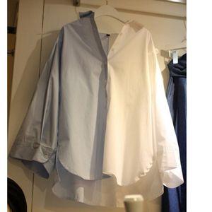[EWQ] 2020 Spring New Long Sleeve Plus Size Womens Tops Blouses Korea Turn-down Collar Patchwork Irregular Design Ladies Shirt