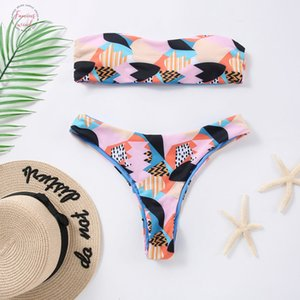 High Leg Bandeau Bikini Set Swimwear Female Two High Waist Bikini Two Piece Print Sexy Split Swimsuit Bikini Beachwear