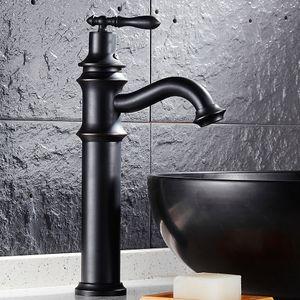 Salle de bains WC laiton noir robinet de style européen rétro chaud et robinet bambou lavabo mélange à froid unique poignée robinetterie haut de style
