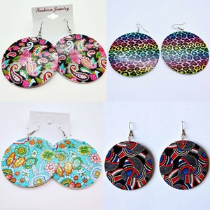 Ethnic Paisley Leopard Print Handpainted Handmade Unusual Large Wood Wooden Round African Style Map Dangle Earrings 28 designs for choices