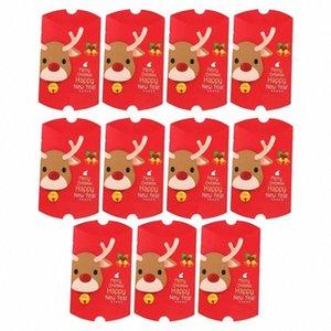 11pcs de Navidad elegante caja del caramelo de chocolate de la forma de almohada Galletas casos, la esfera de Navidad presenta los rectángulos para el festival del partido del hogar TTVF #