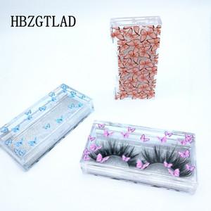 Papillon nouveaux gros impression cils en acrylique de 25 mm d'emballage emballage boîte cil personnalisés logo vendeurs en vrac vides de cas