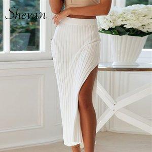 Shevan Knit Midi Jupes Femmes d'hiver 2020 taille haute élégante dame solide blanc Slit Sexy en tricot Jupe crayon